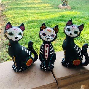 Day of the dead sugar skull cats